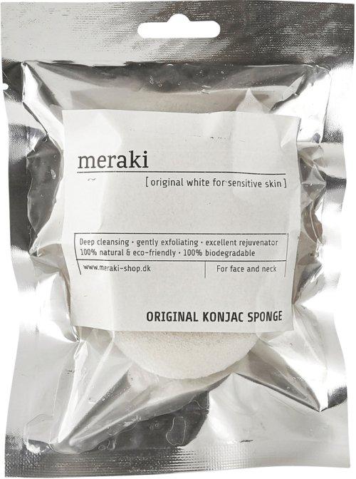 På billedet ser du variationen Konjac Svamp, alle hudtyper fra brandet Meraki i en størrelse H: 2,5 cm. L: 9 cm. i farven Sølv