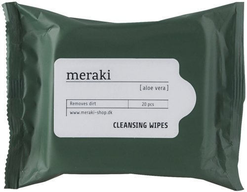 På billedet ser du variationen Opfriskende renseservietter, aloe vera fra brandet Meraki i en størrelse 20 STK./PKG. i farven Mørkegrøn