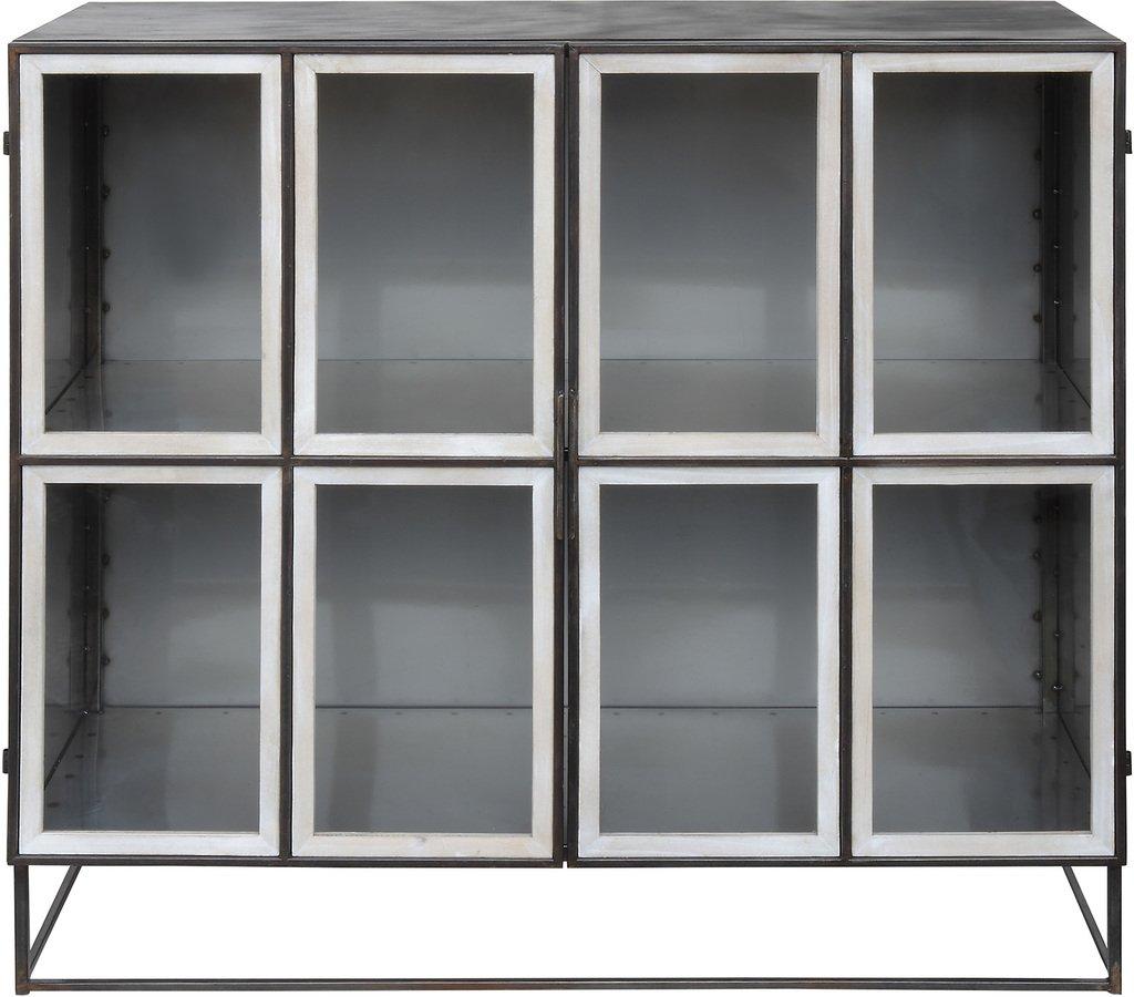 Gatherings, Vitrineskab sort med hvide låger by Creative Collection (H: 100 cm. B: 39 cm. L: 110 cm., Sort)
