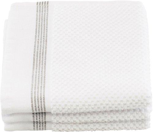 På billedet ser du variationen Vaskeklud, Hvid med grå striber fra brandet Meraki i en størrelse B: 30 cm. L: 30 cm. i farven Hvid