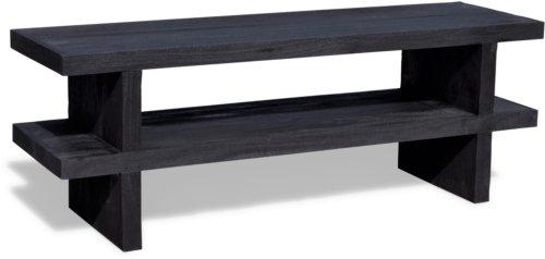 På billedet ser du variationen Tv-bord, Mamba i sort rustikt mangotræ fra brandet OBUZI i en størrelse H: 50 cm. B: 40 cm. L: 140 cm. i farven Mat Sort