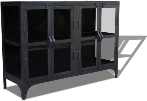 På billedet ser du Skænk i metal / jern og glas, Factoria fra brandet OBUZI i en størrelse H: 70 cm. B: 120 cm. L: 40 cm. i farven Sort
