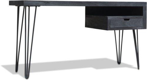 På billedet ser du variationen Skrivebord, HayFay, Mangotræ fra brandet OBUZI i en størrelse H: 74 cm. B: 50 cm. L: 140 cm. i farven Mat Sort