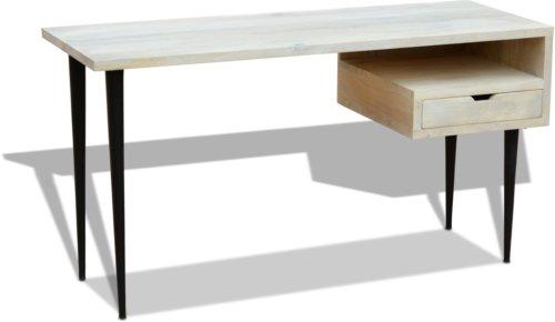 På billedet ser du variationen Skrivebord, HayFay, Mangotræ fra brandet OBUZI i en størrelse H: 74 cm. B: 140 cm. L: 50 cm. i farven Hvid/Sort