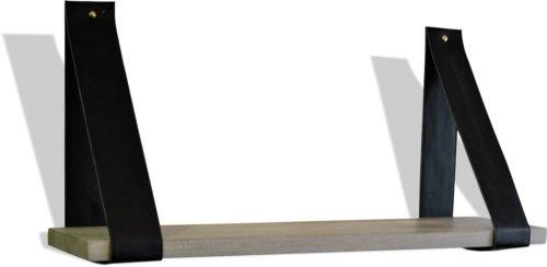 På billedet ser du Svævehylde, Mangatræ med læderstropper fra brandet OBUZI i en størrelse B: 80 cm. L: 20 cm. i farven Hvid/Sort