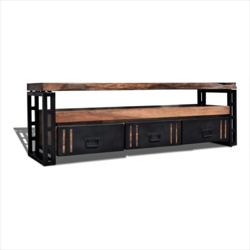 På billedet ser du Tv-bord, Steel The Beast, R5 fra brandet OBUZI i en størrelse H: 50 cm. B: 175 cm. L: 40 cm. i farven Mørk Natur/Sort