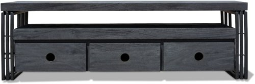 På billedet ser du variationen Tv-bord HayFay-Rail, Model R5, Understel fra brandet OBUZI i en størrelse H: 50 cm. B: 40 cm. L: 155 cm. i farven Mat Sort