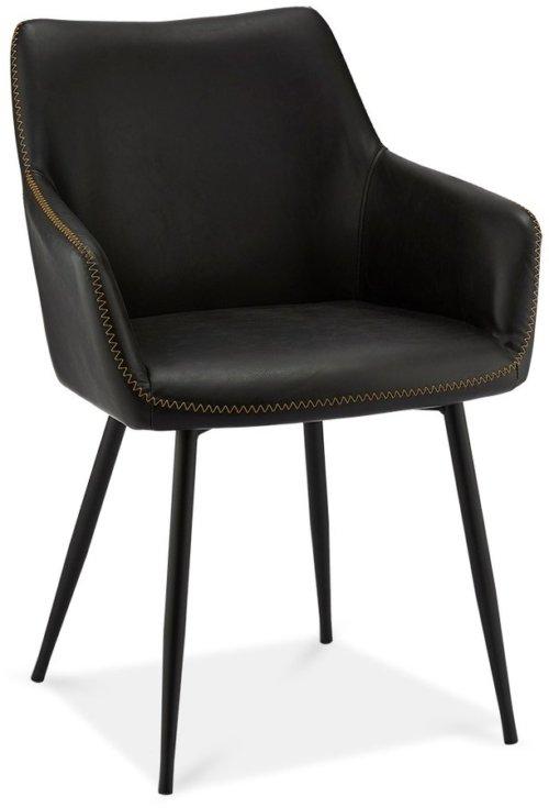 På billedet ser du variationen Oxford, Spisebordsstol, PU-læder m. syninger fra brandet Raymond & Hallmark i en størrelse H: 81 cm. B: 56 cm. i farven Sort