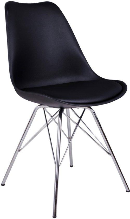 På billedet ser du variationen Frydendal, Spisebordsstol fra brandet House Nordic i en størrelse H: 86 cm. B: 48 cm. L: 55 cm. i farven Chrome/Sort