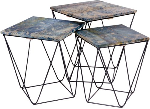 På billedet ser du variationen Tranders, Hjørnebord fra brandet Nordby i en størrelse H: 47 cm. B: 41 cm. L: 41 cm. i farven Blå