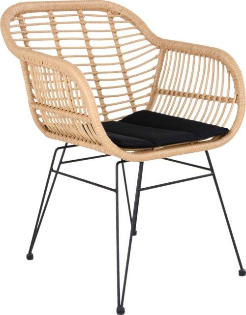 På billedet ser du variationen Ørsted, Stol i rattan til uden-/indendørs brug fra brandet House Nordic i en størrelse H: 60 cm. B: 57 cm. L: 82 cm. i farven Sort/Natur