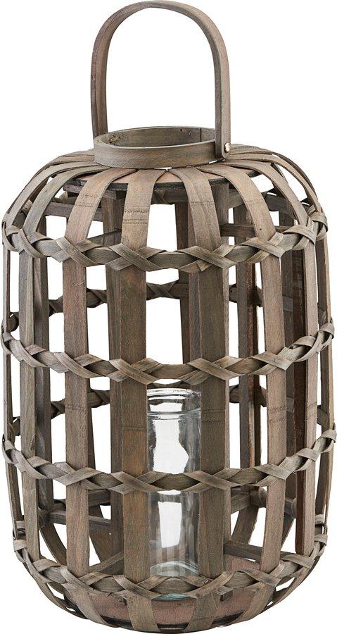 På billedet ser du variationen Lanterne, Knots, Round, Incl. Glasindsats fra brandet House Doctor i en størrelse Ø: 33 cm. H: 50 cm. i farven Mørk Natur