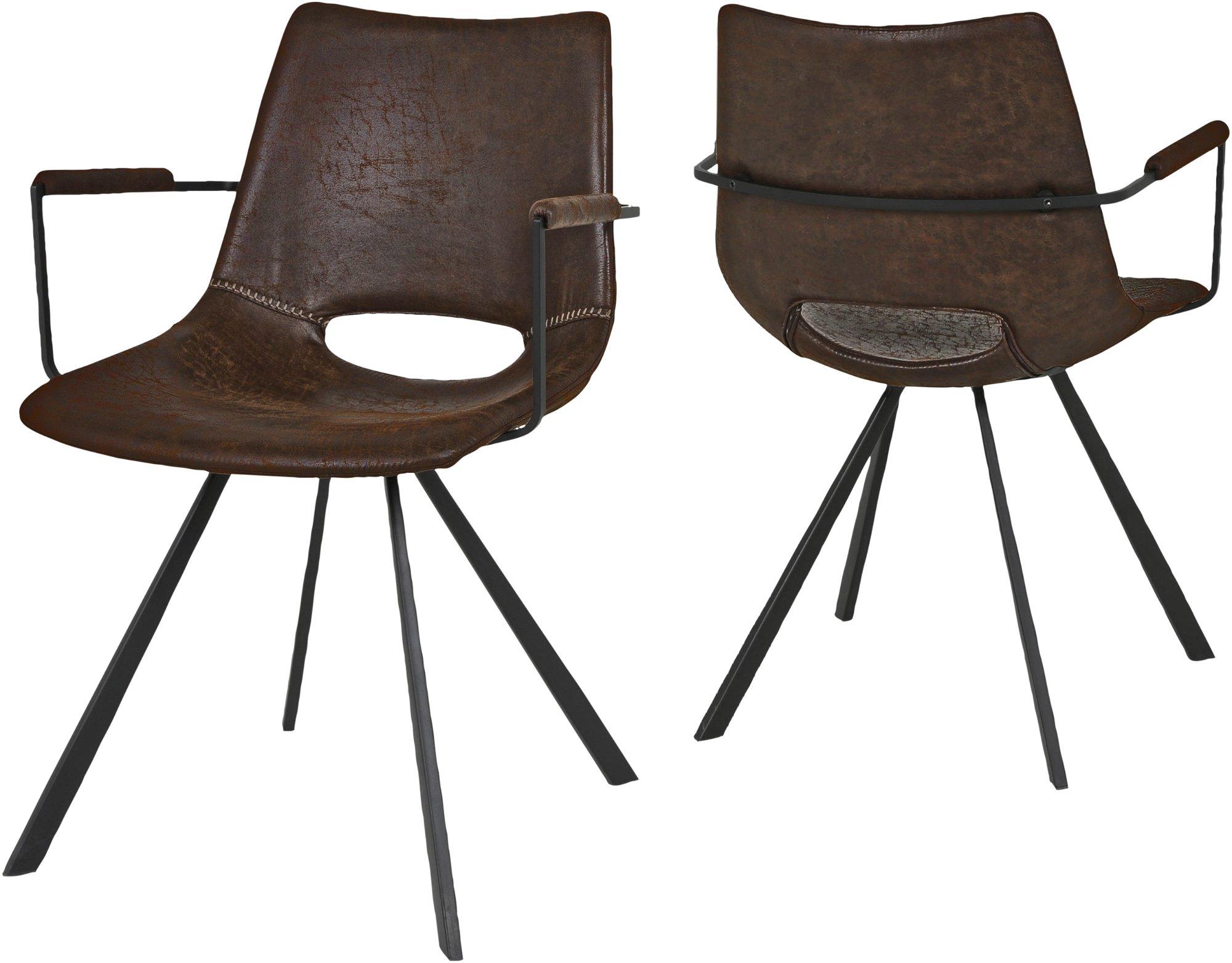 Image of   Berlin, Spisebordsstol m. armlæn by Canett Furniture (H: 80 cm. B: 55,5 cm. L: 57 cm., Sort/Brun)