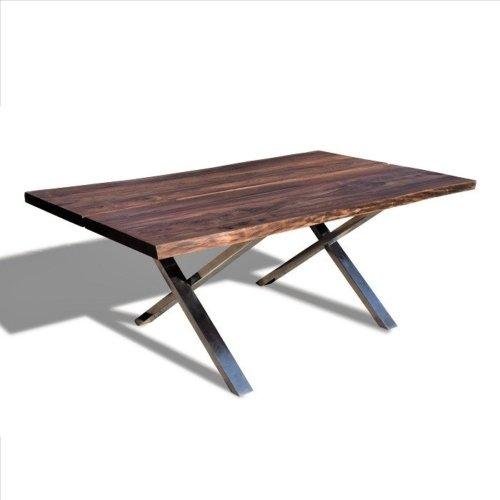 På billedet ser du variationen Plankebord med krydsben i rustfrit stål, Steel The Beast fra brandet OBUZI i en størrelse H: 74 cm. B: 115 cm. L: 200 cm. i farven Mørk Natur/Jern