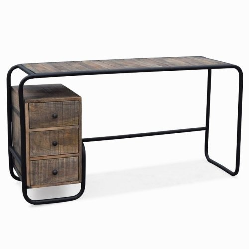 På billedet ser du variationen Skrivebord, Christiania Raw fra brandet OBUZI i en størrelse H: 74 cm. B: 140 cm. L: 45 cm. i farven Mørk Natur/Sort