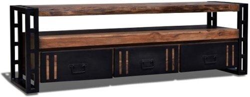 På billedet ser du variationen Tv-bord, Ydrestel, Steel The Beast, R1 fra brandet OBUZI i en størrelse H: 50 cm. B: 175 cm. L: 40 cm. i farven Mørk Natur/Sort