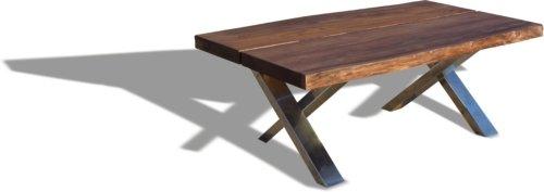 På billedet ser du variationen Sofabord, Steel The Beast, X-stel fra brandet OBUZI i en størrelse H: 47 cm. B: 75 cm. L: 120 cm. i farven Mørk Natur/Stål