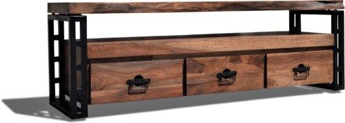 På billedet ser du variationen Tv-bord, Understel, Steel The Beast, R5 fra brandet OBUZI i en størrelse H: 50 cm. B: 175 cm. L: 40 cm. i farven Mørk Natur/Sort