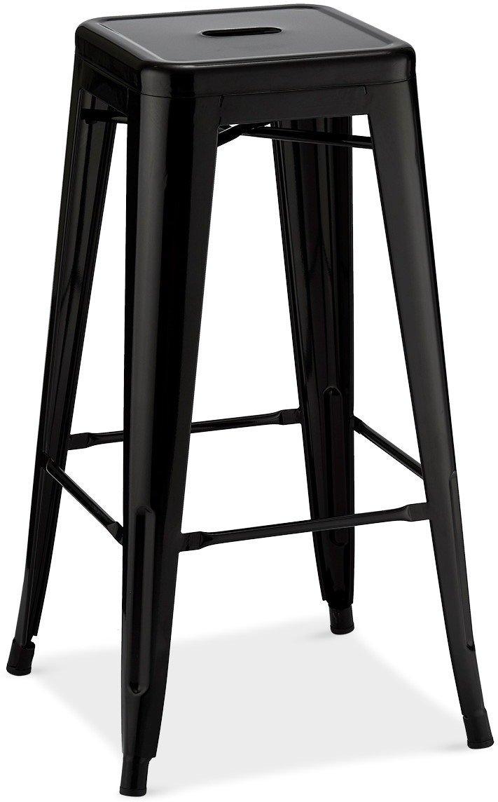 Islay, Barstol, Lakeret stål by Raymond & Hallmark (H: 76 cm. B: 43 cm. L: 43 cm., Sort)