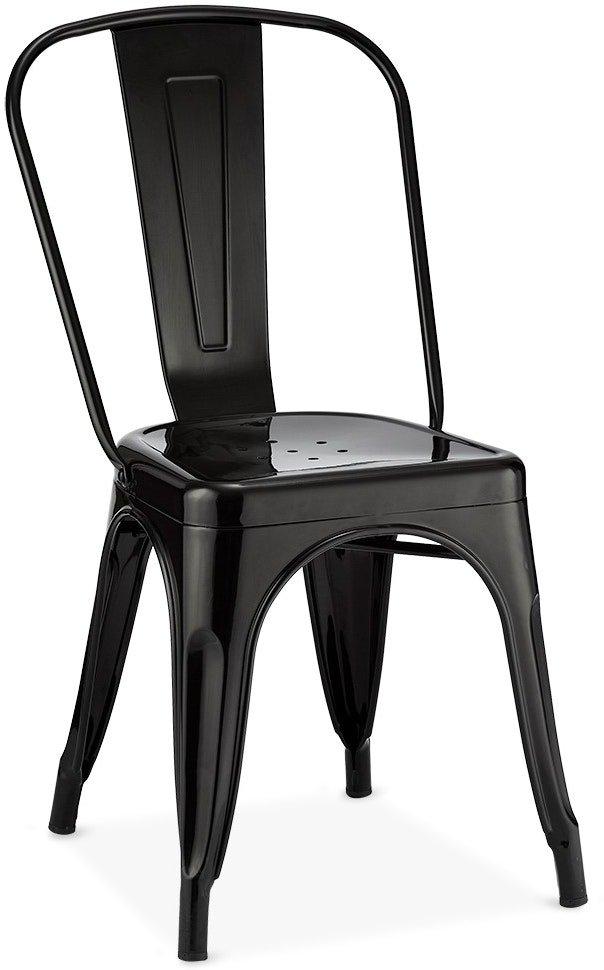 Islay, Spisebordsstol, Industriet look, Lakeret stål by Raymond & Hallmark (H: 85 cm. B: 43 cm., Sort)