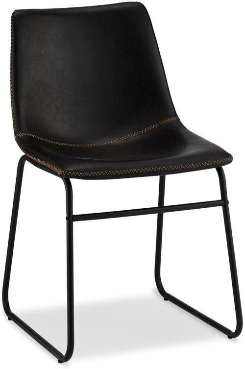 På billedet ser du et stemningsbillede (#5) fra Kelso, Spisebordsstol, PU-læder m. syninger fra brandet Raymond & Hallmark i en størrelse H: 78 cm. B: 46 cm. i farven Sort