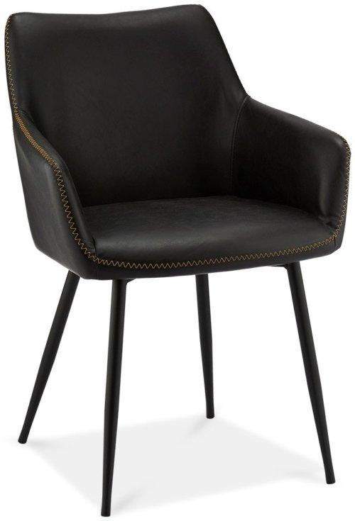 På billedet ser du et stemningsbillede (#5) fra Oxford, Spisebordsstol, PU-læder m. syninger fra brandet Raymond & Hallmark i en størrelse H: 81 cm. B: 56 cm. i farven Sort