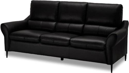 På billedet ser du et stemningsbillede (#8) fra Leadhills, 3 personers sofa, Læder fra brandet Raymond & Hallmark i en størrelse H: 98 cm. B: 215 cm. i farven Sort