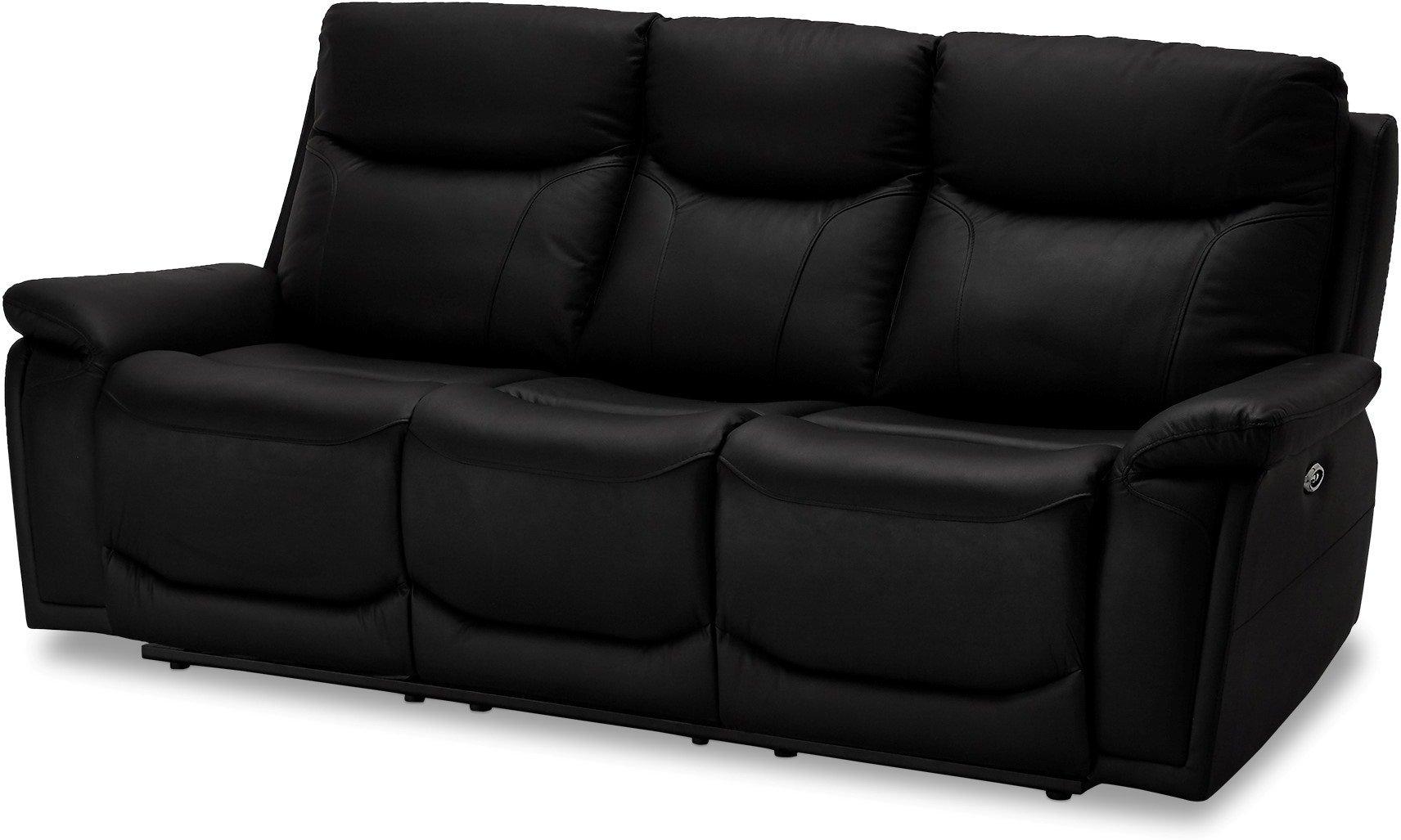 Stirling, 3-personers sofa, Ægte læder by Raymond & Hallmark (H: 100 cm. B: 217 cm. L: 99 cm., Sort)