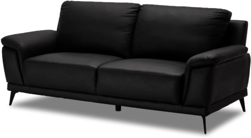 På billedet ser du et stemningsbillede (#7) fra Dunblane, 3 personers sofa, Læder fra brandet Raymond & Hallmark i en størrelse H: 89 cm. B: 210 cm. i farven Sort
