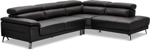 På billedet ser du variationen Blackford, Sofa, Læder fra brandet Raymond & Hallmark i en størrelse Højrevendt i farven Sort
