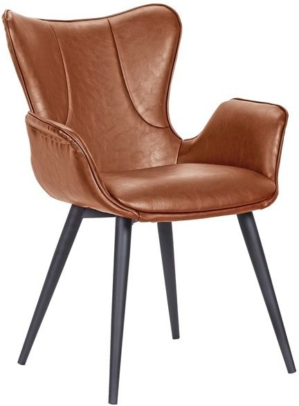 På billedet ser du variationen Mist, Spisebordsstol, Kunstlæder fra brandet House of Sander i en størrelse H: 88 cm. B: 63 cm. L: 61 cm. i farven Cognac