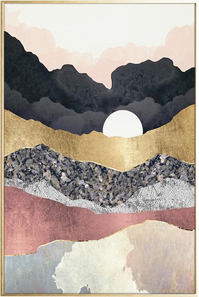 På billedet ser du Moon , Illustration m. ramme fra brandet House of Sander i en størrelse H: 3 cm. B: 60 cm. L: 90 cm. i farven Multifarvet