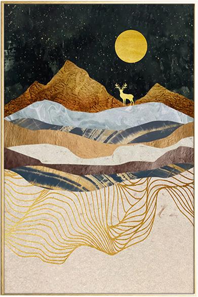 På billedet ser du Beige Landscape, Illustration m. ramme fra brandet House of Sander i en størrelse H: 3 cm. B: 60 cm. L: 90 cm. i farven Multifarvet