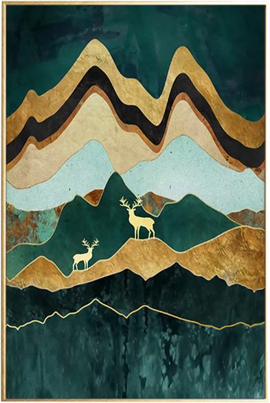 På billedet ser du Green Landscape, Illustration m. ramme fra brandet House of Sander i en størrelse H: 3 cm. B: 60 cm. L: 90 cm. i farven Multifarvet