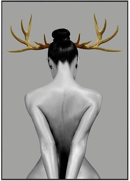 På billedet ser du Antlers Art, Illustration m. ramme fra brandet House of Sander i en størrelse H: 3 cm. B: 70 cm. L: 100 cm. i farven Multifarvet