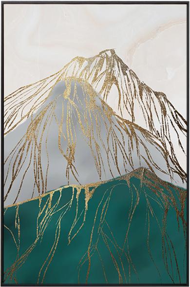 På billedet ser du variationen Gold Mountain, Illustration m. ramme fra brandet House of Sander i en størrelse H: 3 cm. B: 60 cm. L: 90 cm. i farven Multifarvet