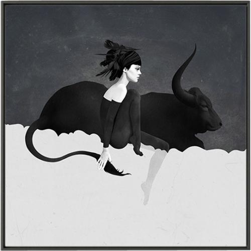 På billedet ser du Bull, Illustration m. ramme fra brandet House of Sander i en størrelse H: 3 cm. B: 60 cm. L: 90 cm. i farven Multifarvet