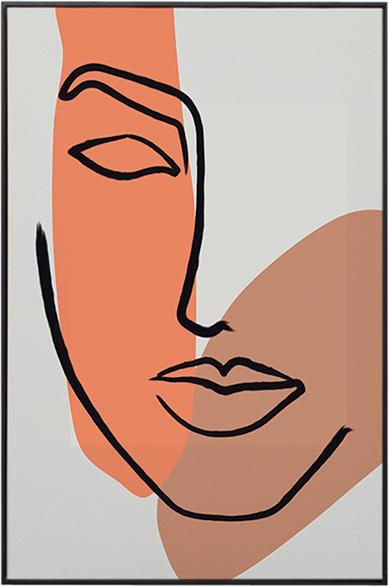 På billedet ser du Face, Illustration m. ramme fra brandet House of Sander i en størrelse H: 3 cm. B: 60 cm. L: 90 cm. i farven Multifarvet