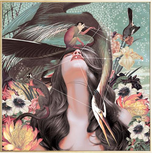 På billedet ser du variationen Flower girl, Illustration m. ramme fra brandet House of Sander i en størrelse H: 3 cm. B: 60 cm. L: 90 cm. i farven Multifarvet