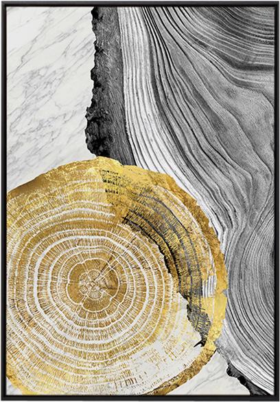 På billedet ser du Golden wood 1, Illustration m. ramme fra brandet House of Sander i en størrelse H: 3 cm. B: 70 cm. L: 100 cm. i farven Multifarvet