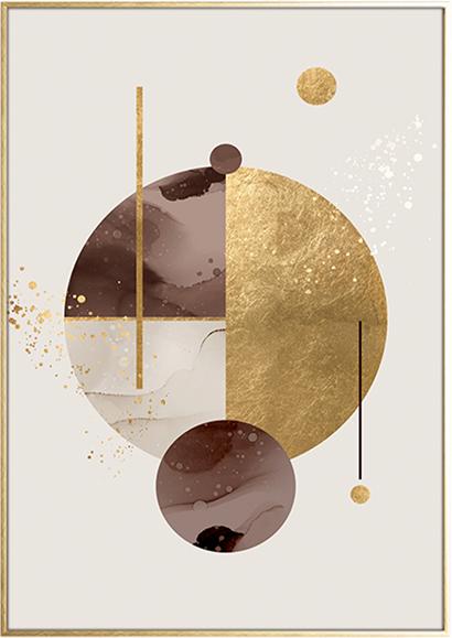 På billedet ser du variationen Golden Circles, Illustration m. ramme fra brandet House of Sander i en størrelse H: 3 cm. B: 50 cm. L: 70 cm. i farven Multifarvet