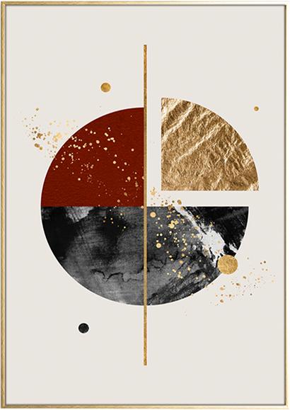 På billedet ser du variationen Golden Piece, Illustration m. ramme fra brandet House of Sander i en størrelse H: 3 cm. B: 50 cm. L: 70 cm. i farven Multifarvet