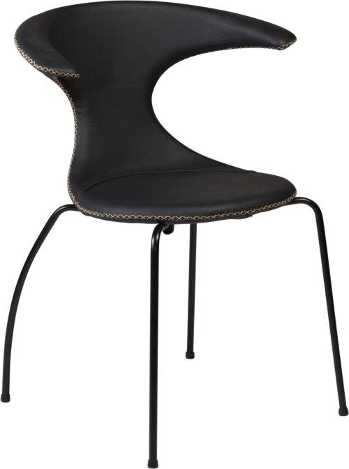 På billedet ser du variationen Flair, Spisebordsstol, Stålben, Læder fra brandet DAN-FORM Denmark i en størrelse H: 81 cm. B: 64 cm. i farven Sort