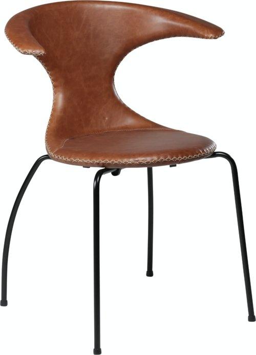 På billedet ser du variationen Flair, Spisebordsstol, Stålben, Læder fra brandet DAN-FORM Denmark i en størrelse H: 81 cm. B: 64 cm. i farven Brun/Sort