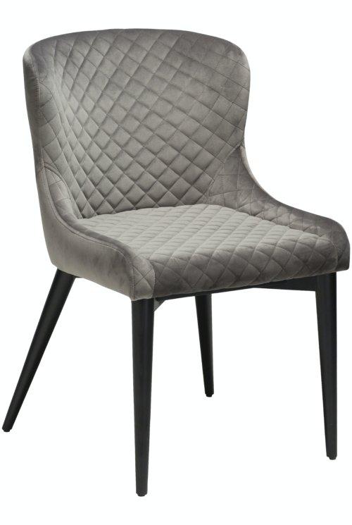 På billedet ser du variationen Vetro, Spisebordsstol, Fløjl fra brandet DAN-FORM Denmark i en størrelse H: 80 cm. B: 50 cm. i farven Grå/Sort