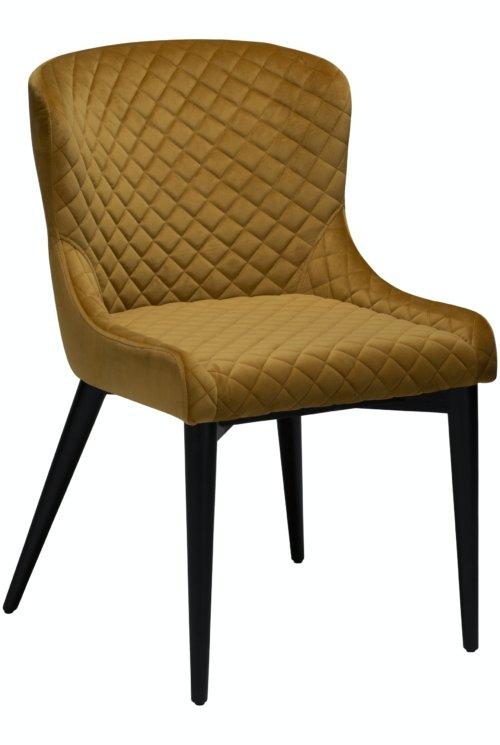 På billedet ser du variationen Vetro, Spisebordsstol, Fløjl fra brandet DAN-FORM Denmark i en størrelse H: 80 cm. B: 50 cm. i farven Okker/Sort