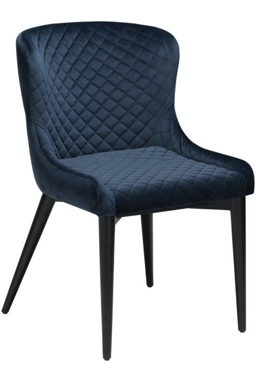 På billedet ser du variationen Vetro, Spisebordsstol, Fløjl fra brandet DAN-FORM Denmark i en størrelse H: 80 cm. B: 50 cm. i farven Blå/Sort