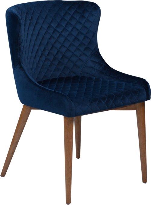 På billedet ser du variationen Vetro, Spisebordsstol, Fløjl fra brandet DAN-FORM Denmark i en størrelse H: 80 cm. B: 50 cm. i farven Blå/Natur