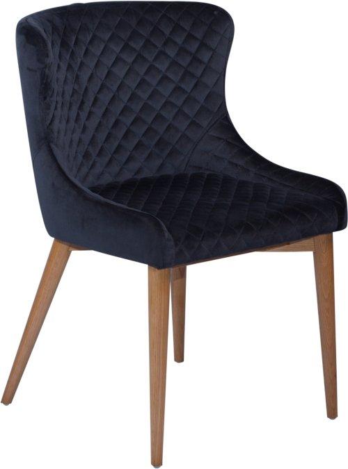 På billedet ser du variationen Vetro, Spisebordsstol, Fløjl fra brandet DAN-FORM Denmark i en størrelse H: 80 cm. B: 50 cm. i farven Sort/Brun