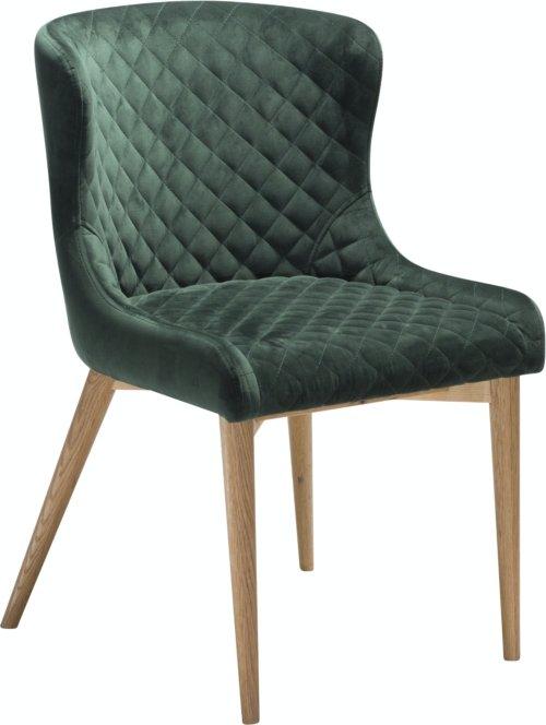 På billedet ser du variationen Vetro, Spisebordsstol, Fløjl fra brandet DAN-FORM Denmark i en størrelse H: 80 cm. B: 50 cm. i farven Grøn/Natur